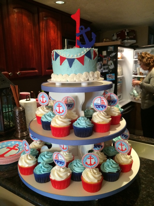 Nautical Themed cake and cupcakes